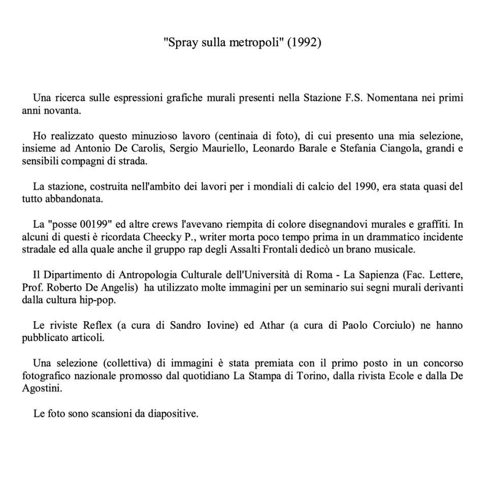 GRAFFITI STAZIONE NOMENTANA (1992)